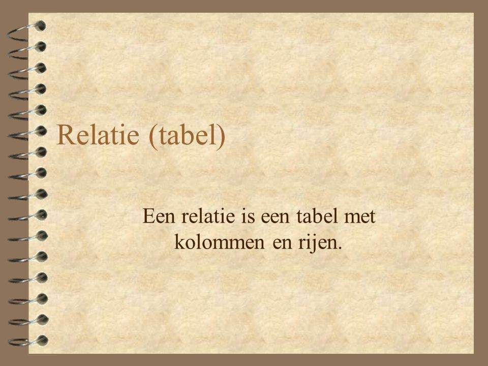Attribuut Een attribuut is een kolom van een relatie