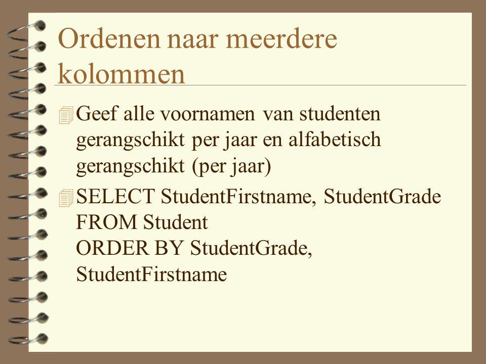 Ordenen naar meerdere kolommen 4 Geef alle voornamen van studenten gerangschikt per jaar en alfabetisch gerangschikt (per jaar) 4 SELECT StudentFirstname, StudentGrade FROM Student ORDER BY StudentGrade, StudentFirstname