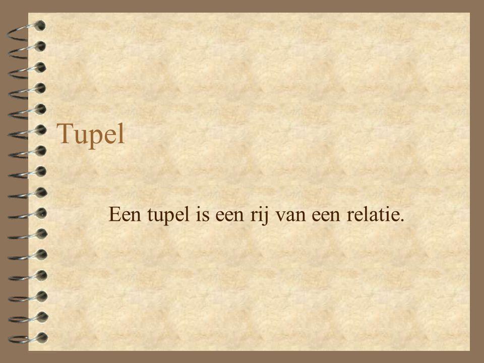 Tupel Een tupel is een rij van een relatie.