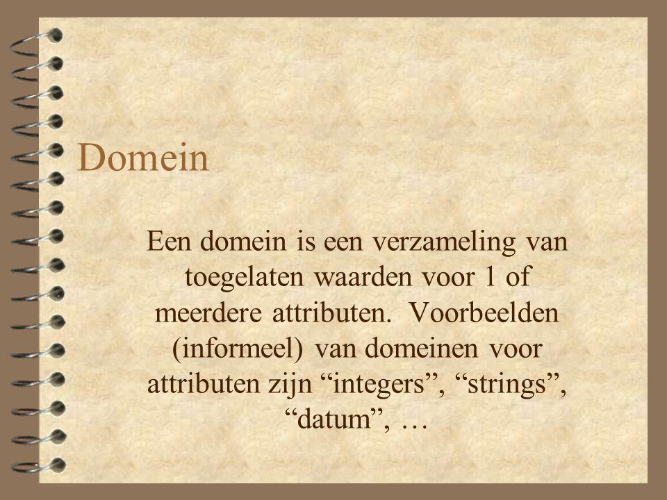 Domein Een domein is een verzameling van toegelaten waarden voor 1 of meerdere attributen.