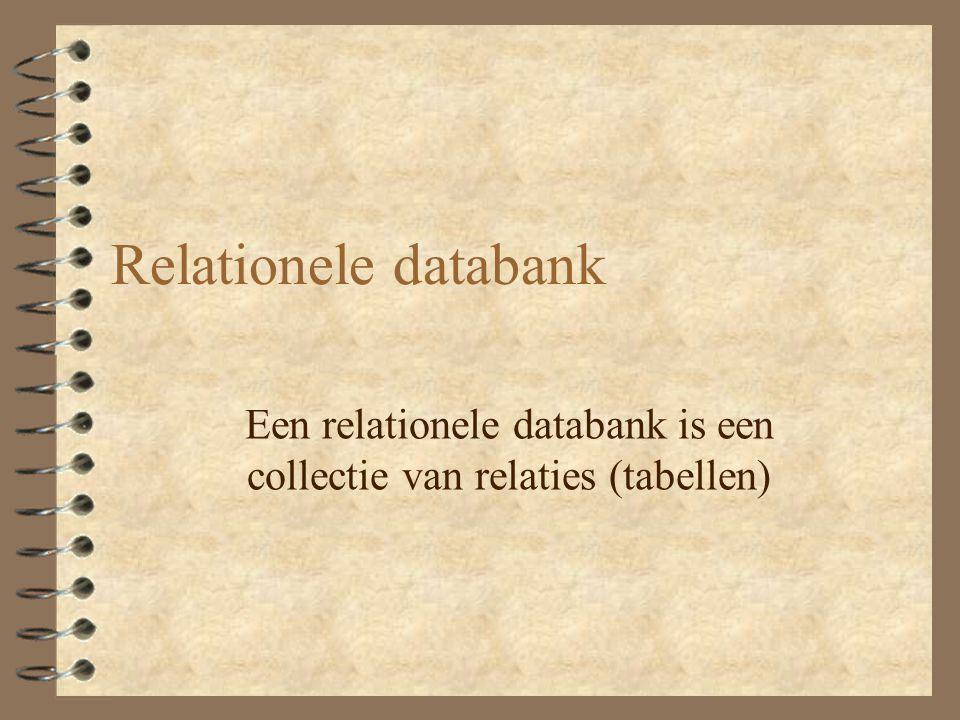 Relationele databank Een relationele databank is een collectie van relaties (tabellen)