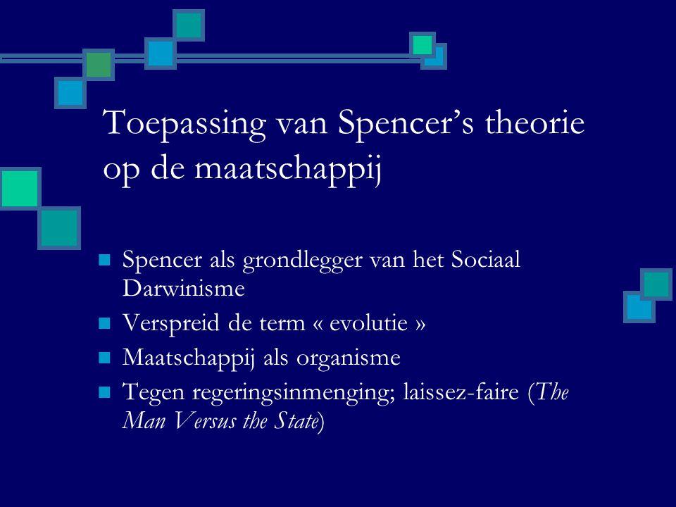 Toepassing van Spencer's theorie op de maatschappij Spencer als grondlegger van het Sociaal Darwinisme Verspreid de term « evolutie » Maatschappij als organisme Tegen regeringsinmenging; laissez-faire (The Man Versus the State)