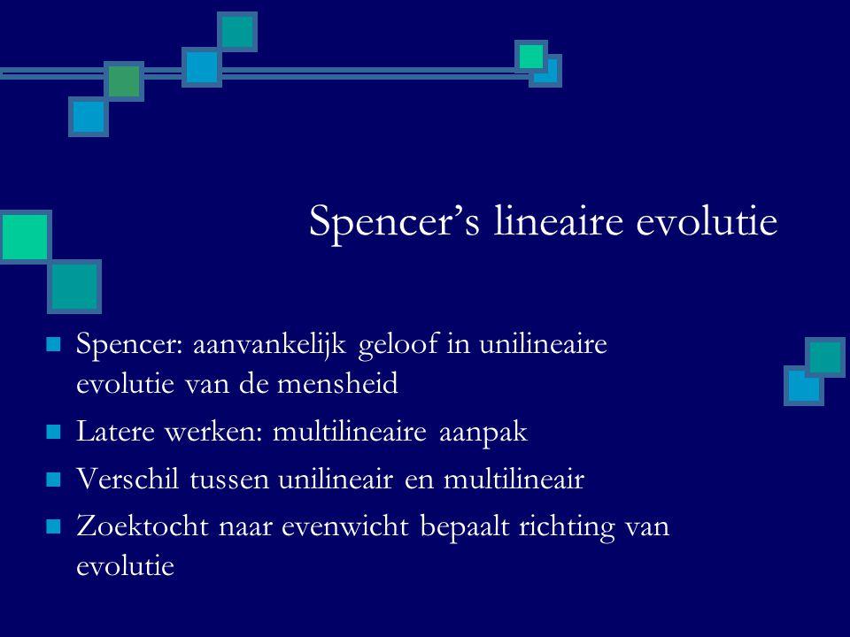 Spencer's lineaire evolutie Spencer: aanvankelijk geloof in unilineaire evolutie van de mensheid Latere werken: multilineaire aanpak Verschil tussen unilineair en multilineair Zoektocht naar evenwicht bepaalt richting van evolutie