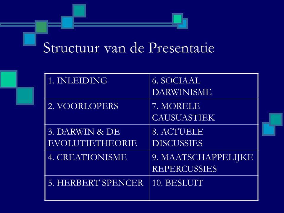 Structuur van de Presentatie 1. INLEIDING6. SOCIAAL DARWINISME 2. VOORLOPERS7. MORELE CAUSUASTIEK 3. DARWIN & DE EVOLUTIETHEORIE 8. ACTUELE DISCUSSIES