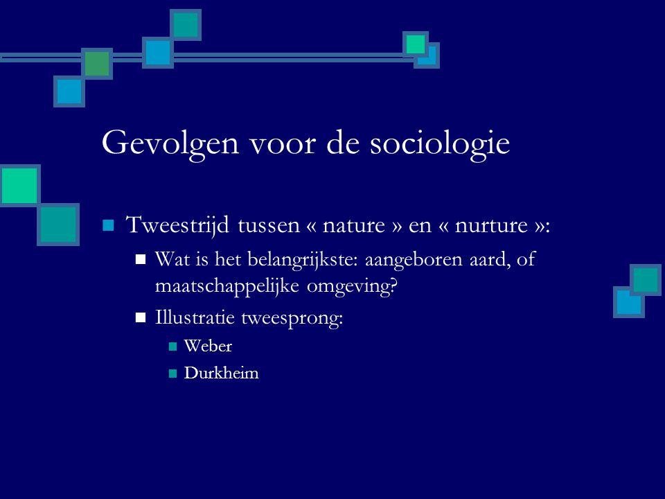 Gevolgen voor de sociologie Tweestrijd tussen « nature » en « nurture »: Wat is het belangrijkste: aangeboren aard, of maatschappelijke omgeving.