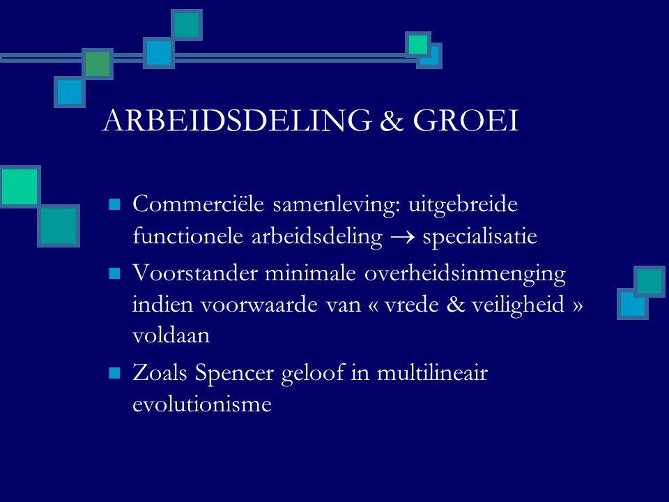 ARBEIDSDELING & GROEI Commerciële samenleving: uitgebreide functionele arbeidsdeling  specialisatie Voorstander minimale overheidsinmenging indien voorwaarde van « vrede & veiligheid » voldaan Zoals Spencer geloof in multilineair evolutionisme