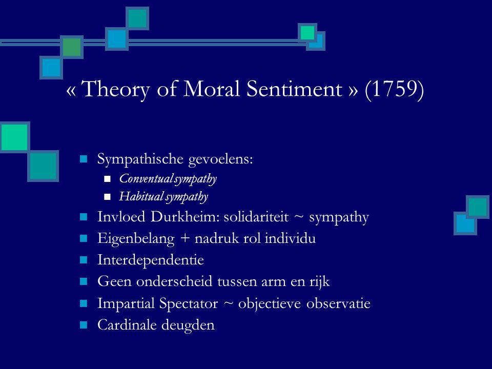 « Theory of Moral Sentiment » (1759) Sympathische gevoelens: Conventual sympathy Habitual sympathy Invloed Durkheim: solidariteit ~ sympathy Eigenbelang + nadruk rol individu Interdependentie Geen onderscheid tussen arm en rijk Impartial Spectator ~ objectieve observatie Cardinale deugden