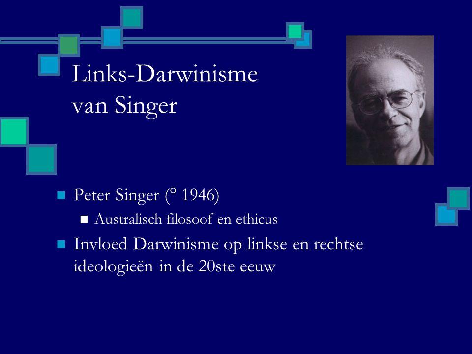 Links-Darwinisme van Singer Peter Singer (° 1946) Australisch filosoof en ethicus Invloed Darwinisme op linkse en rechtse ideologieën in de 20ste eeuw