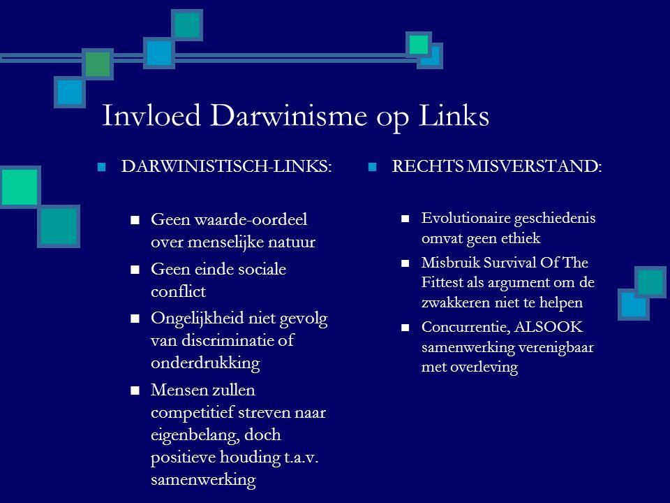 Invloed Darwinisme op Links DARWINISTISCH-LINKS: Geen waarde-oordeel over menselijke natuur Geen einde sociale conflict Ongelijkheid niet gevolg van discriminatie of onderdrukking Mensen zullen competitief streven naar eigenbelang, doch positieve houding t.a.v.