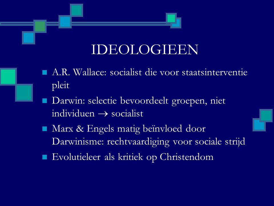 IDEOLOGIEEN A.R. Wallace: socialist die voor staatsinterventie pleit Darwin: selectie bevoordeelt groepen, niet individuen  socialist Marx & Engels m