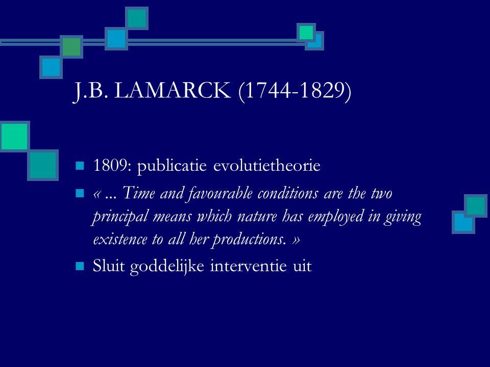 LAMARCK'S EVOLUTIELEER EERSTE WET Verandering niet passief Verandering in omgeving  Veranderd gedrag  Veranderd gebruik van organen TWEEDE WET: erfelijkheid Philosophie Zoologique (1809)
