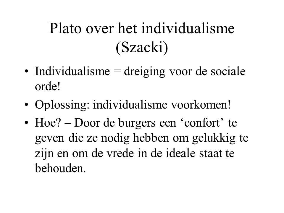 Plato over het individualisme (Szacki) Individualisme = dreiging voor de sociale orde.
