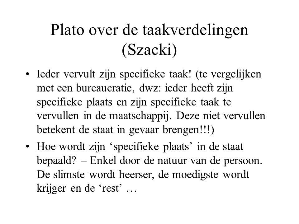Plato over de taakverdelingen (Szacki) Ieder vervult zijn specifieke taak.