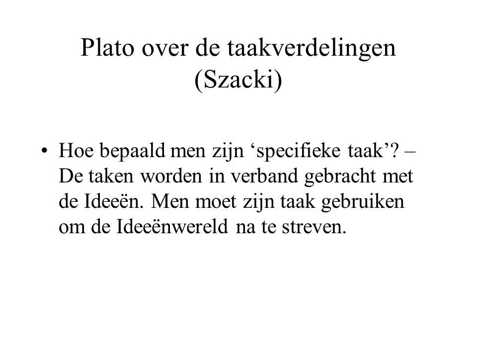 Plato over de taakverdelingen (Szacki) Hoe bepaald men zijn 'specifieke taak'.