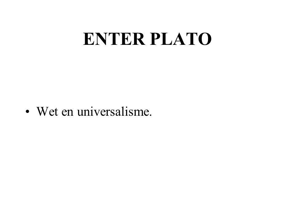 ENTER PLATO Wet en universalisme.