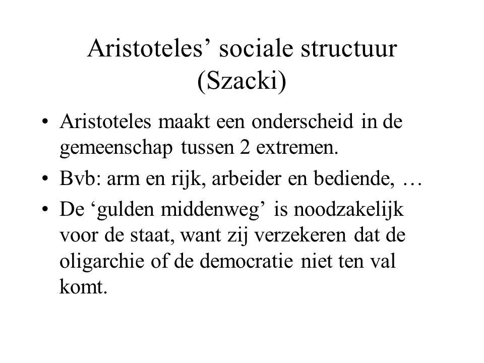 Aristoteles' sociale structuur (Szacki) Aristoteles maakt een onderscheid in de gemeenschap tussen 2 extremen.