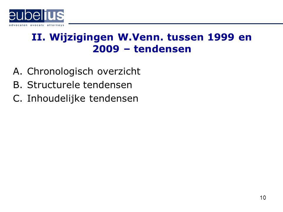 10 II. Wijzigingen W.Venn. tussen 1999 en 2009 – tendensen A.Chronologisch overzicht B.Structurele tendensen C.Inhoudelijke tendensen