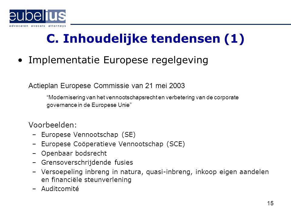 """15 C. Inhoudelijke tendensen (1) Implementatie Europese regelgeving Actieplan Europese Commissie van 21 mei 2003 """"Modernisering van het vennootschapsr"""