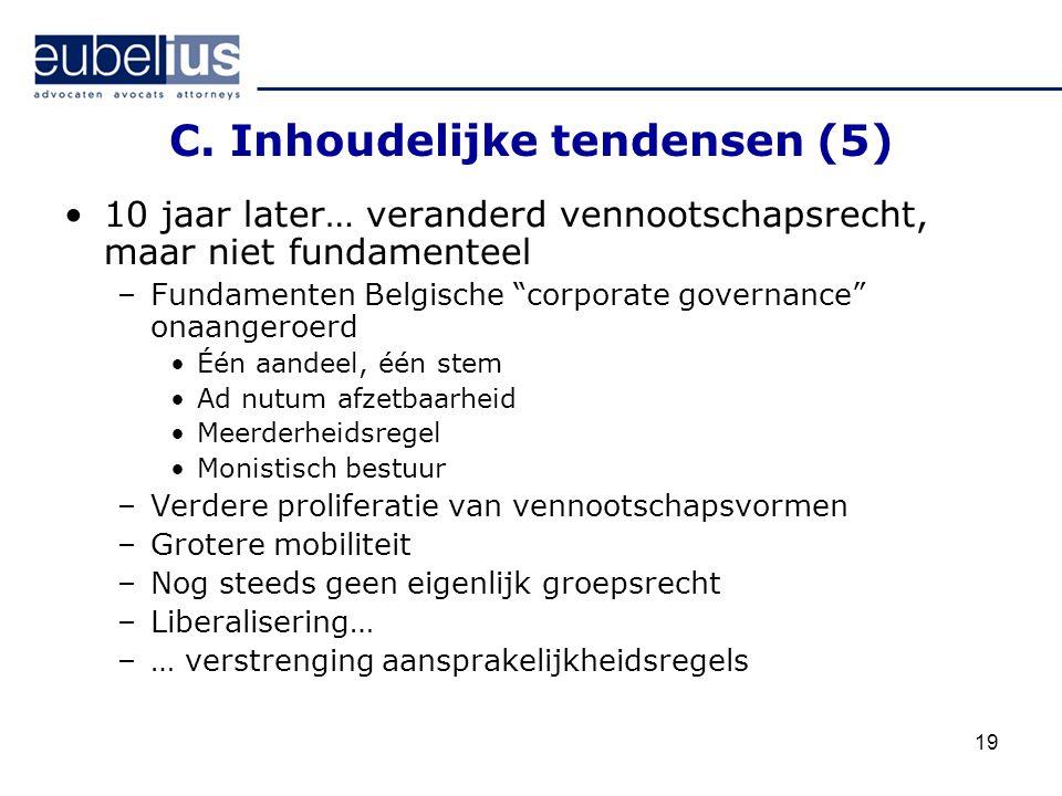 """19 C. Inhoudelijke tendensen (5) 10 jaar later… veranderd vennootschapsrecht, maar niet fundamenteel –Fundamenten Belgische """"corporate governance"""" ona"""