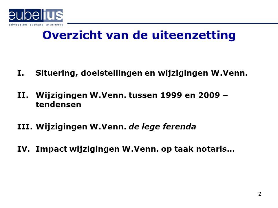 2 Overzicht van de uiteenzetting I.Situering, doelstellingen en wijzigingen W.Venn. II.Wijzigingen W.Venn. tussen 1999 en 2009 – tendensen III.Wijzigi