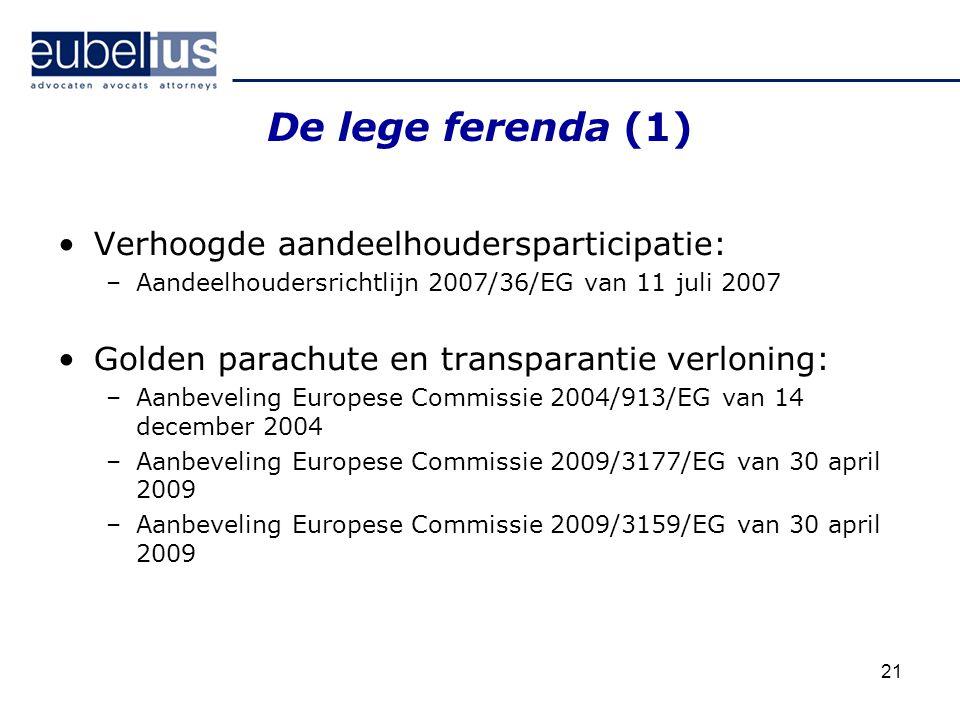21 De lege ferenda (1) Verhoogde aandeelhoudersparticipatie: –Aandeelhoudersrichtlijn 2007/36/EG van 11 juli 2007 Golden parachute en transparantie ve