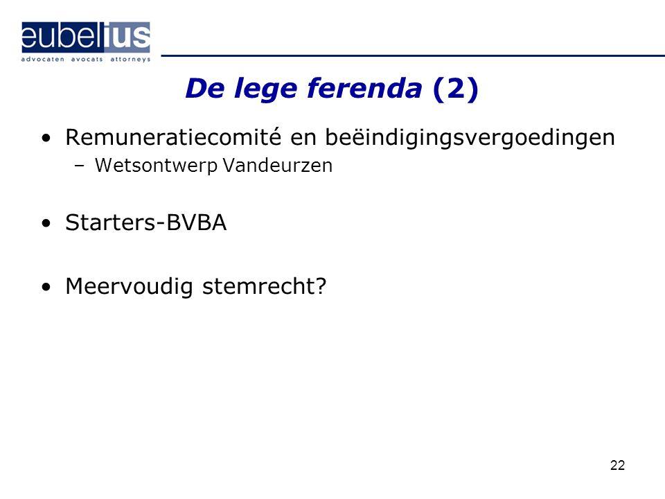 22 De lege ferenda (2) Remuneratiecomité en beëindigingsvergoedingen –Wetsontwerp Vandeurzen Starters-BVBA Meervoudig stemrecht?