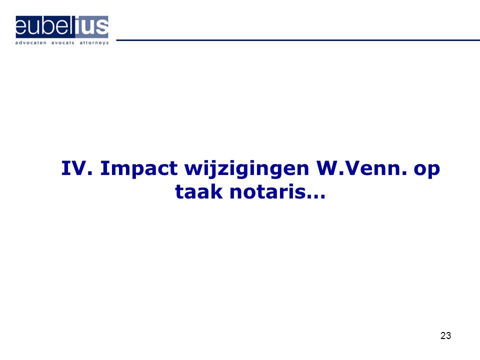 23 IV. Impact wijzigingen W.Venn. op taak notaris…