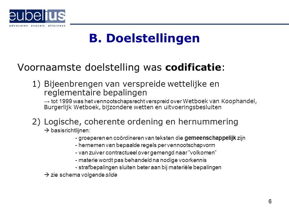 6 B. Doelstellingen Voornaamste doelstelling was codificatie: 1)Bijeenbrengen van verspreide wettelijke en reglementaire bepalingen → tot 1999 was het
