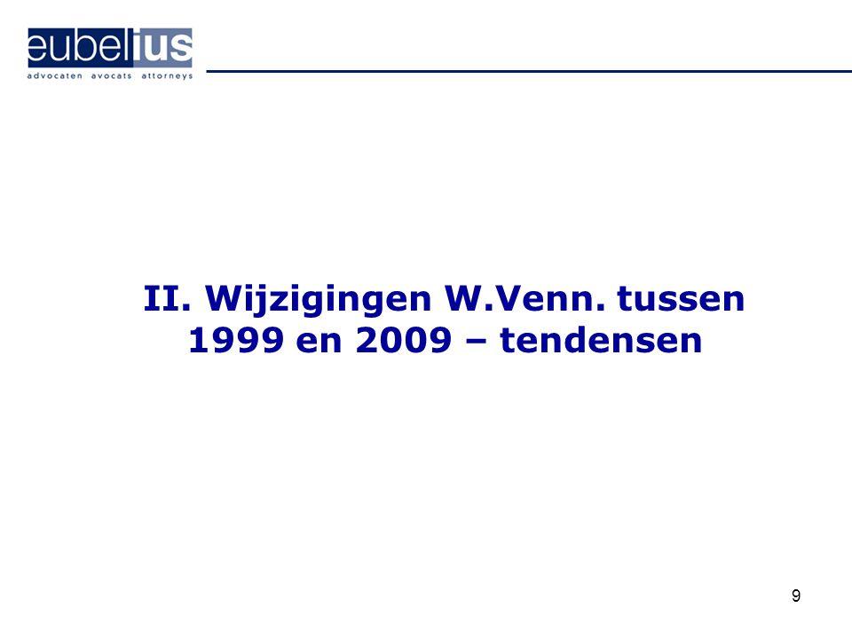 9 II. Wijzigingen W.Venn. tussen 1999 en 2009 – tendensen
