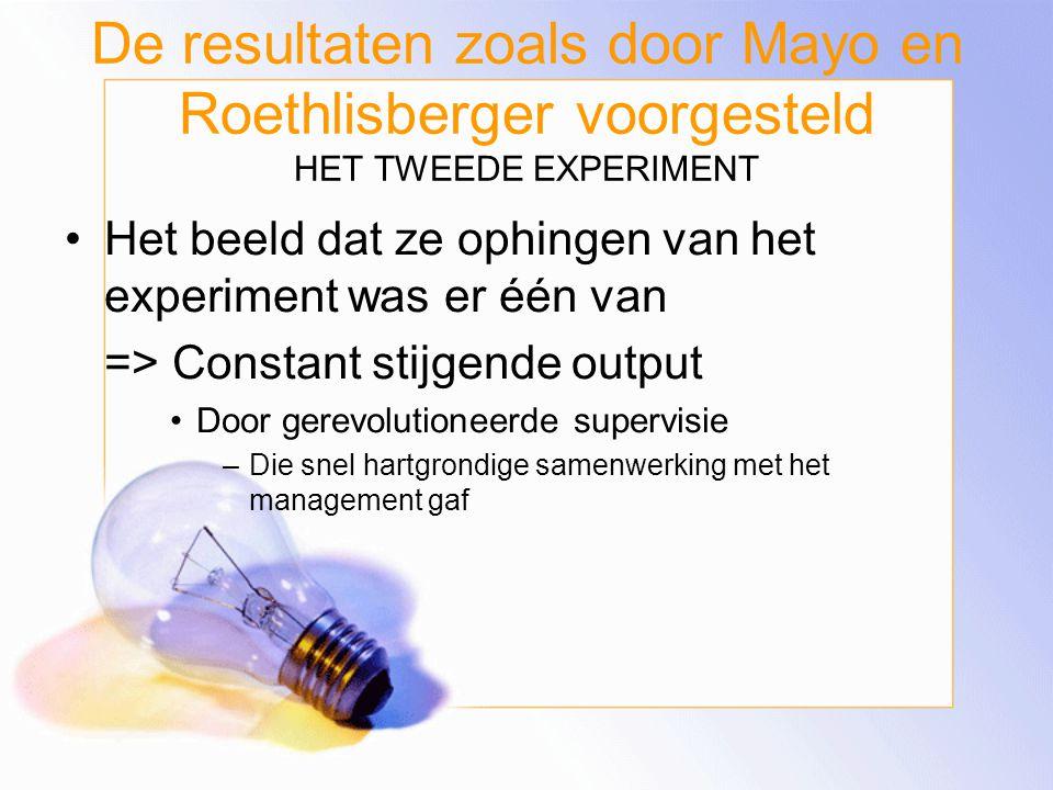 De resultaten zoals door Mayo en Roethlisberger voorgesteld HET TWEEDE EXPERIMENT
