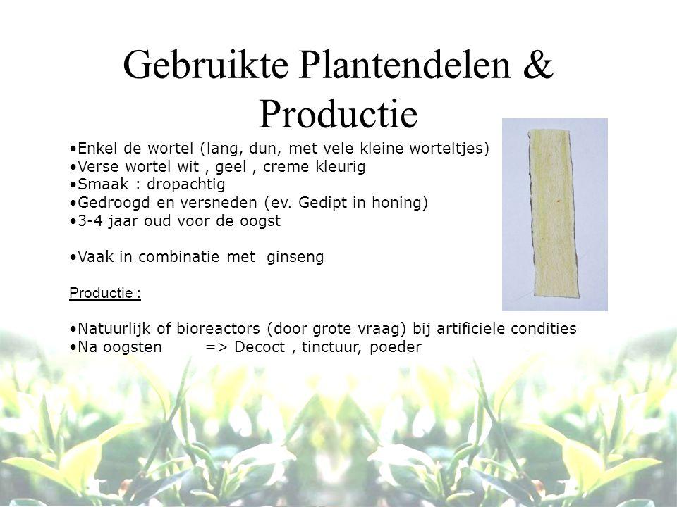 Gebruikte Plantendelen & Productie Enkel de wortel (lang, dun, met vele kleine worteltjes) Verse wortel wit, geel, creme kleurig Smaak : dropachtig Gedroogd en versneden (ev.
