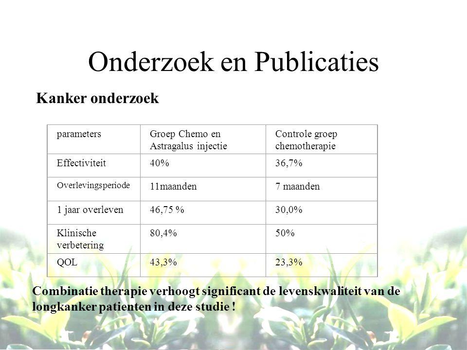 Onderzoek en Publicaties Kanker onderzoek parametersGroep Chemo en Astragalus injectie Controle groep chemotherapie Effectiviteit40%36,7% Overlevingsp