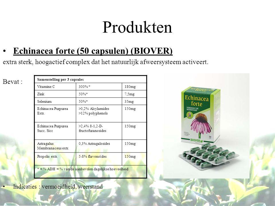 Produkten Echinacea forte (50 capsulen) (BIOVER) extra sterk, hoogactief complex dat het natuurlijk afweersysteem activeert. Bevat : Indicaties : verm