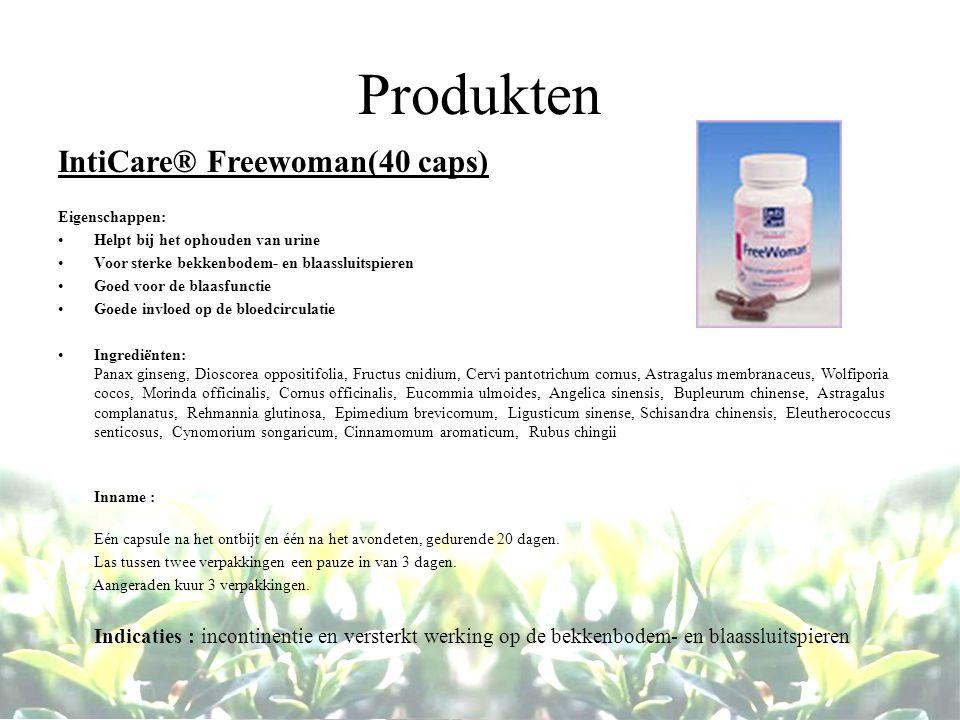 Produkten IntiCare® Freewoman(40 caps) Eigenschappen: Helpt bij het ophouden van urine Voor sterke bekkenbodem- en blaassluitspieren Goed voor de blaa