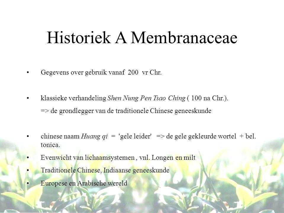 Historiek A Membranaceae Gegevens over gebruik vanaf 200 vr Chr. klassieke verhandeling Shen Nung Pen Tsao Ching ( 100 na Chr.). => de grondlegger van