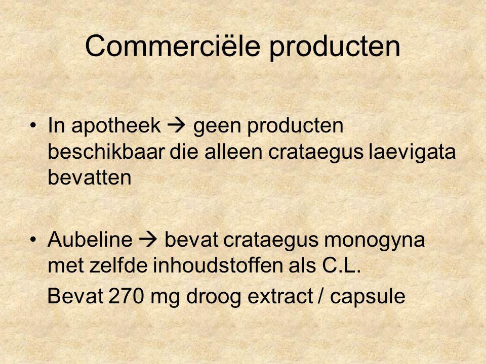 Commerciële producten In apotheek  geen producten beschikbaar die alleen crataegus laevigata bevatten Aubeline  bevat crataegus monogyna met zelfde inhoudstoffen als C.L.