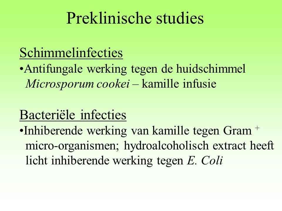 Preklinische studies Schimmelinfecties Antifungale werking tegen de huidschimmel Microsporum cookei – kamille infusie Bacteriële infecties Inhiberende