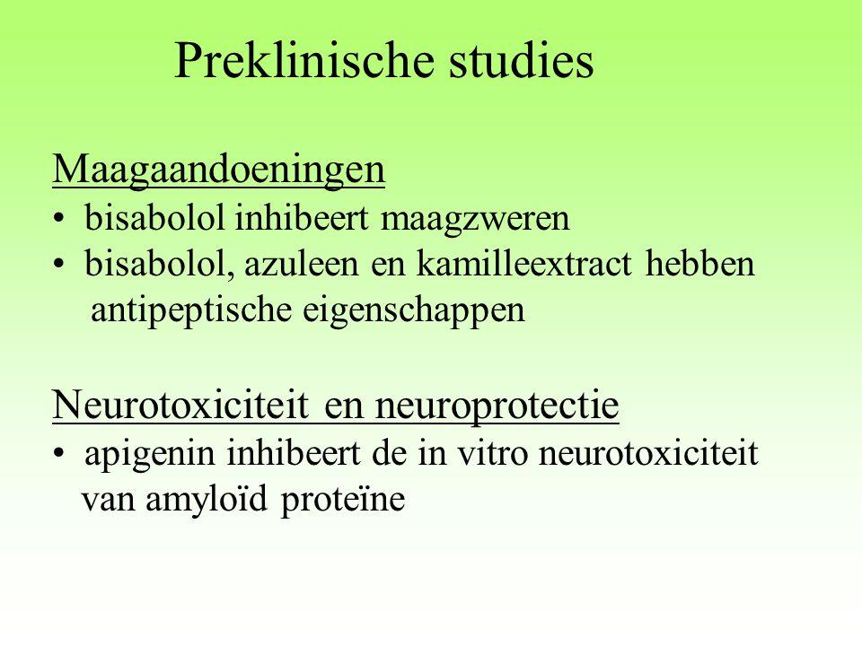 Preklinische studies Maagaandoeningen bisabolol inhibeert maagzweren bisabolol, azuleen en kamilleextract hebben antipeptische eigenschappen Neurotoxi