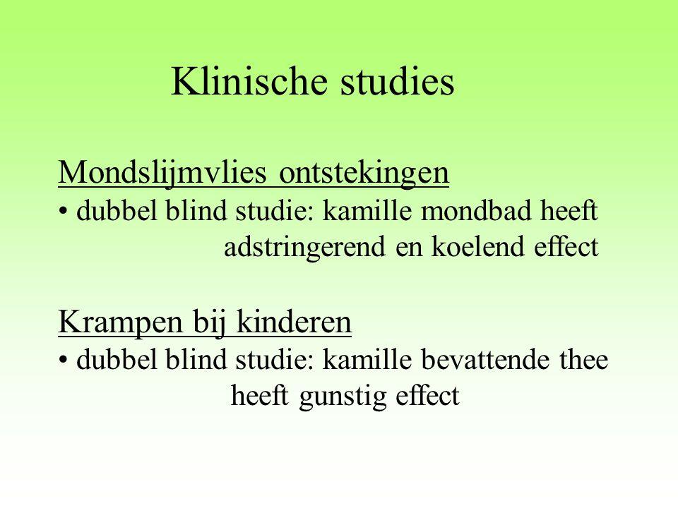 Klinische studies Mondslijmvlies ontstekingen dubbel blind studie: kamille mondbad heeft adstringerend en koelend effect Krampen bij kinderen dubbel b