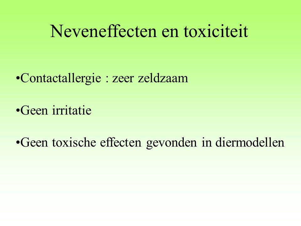 Neveneffecten en toxiciteit Contactallergie : zeer zeldzaam Geen irritatie Geen toxische effecten gevonden in diermodellen