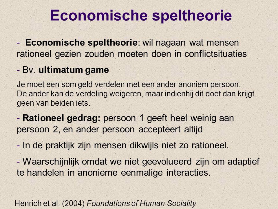 Economische speltheorie - Economische speltheorie: wil nagaan wat mensen rationeel gezien zouden moeten doen in conflictsituaties - Bv. ultimatum game