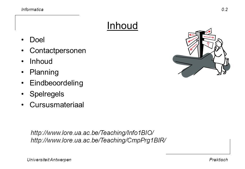 Informatica Universiteit AntwerpenPraktisch 0.2 Inhoud Doel Contactpersonen Inhoud Planning Eindbeoordeling Spelregels Cursusmateriaal http://www.lore.ua.ac.be/Teaching/Info1BIO/ http://www.lore.ua.ac.be/Teaching/CmpPrg1BIR/
