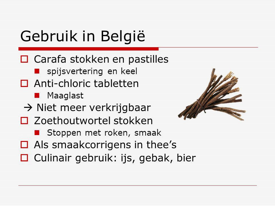Gebruik in België  Carafa stokken en pastilles spijsvertering en keel  Anti-chloric tabletten Maaglast  Niet meer verkrijgbaar  Zoethoutwortel sto