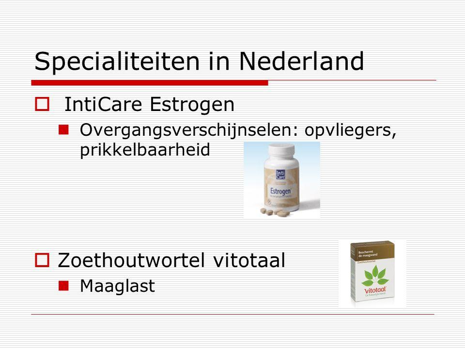 Specialiteiten in Nederland  IntiCare Estrogen Overgangsverschijnselen: opvliegers, prikkelbaarheid  Zoethoutwortel vitotaal Maaglast