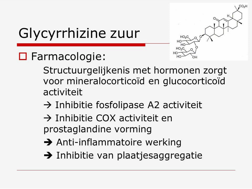 Glycyrrhizine zuur  Farmacologie: Structuurgelijkenis met hormonen zorgt voor mineralocorticoïd en glucocorticoïd activiteit  Inhibitie fosfolipase