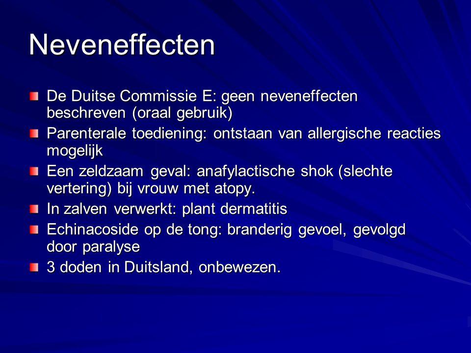 Neveneffecten De Duitse Commissie E: geen neveneffecten beschreven (oraal gebruik) Parenterale toediening: ontstaan van allergische reacties mogelijk
