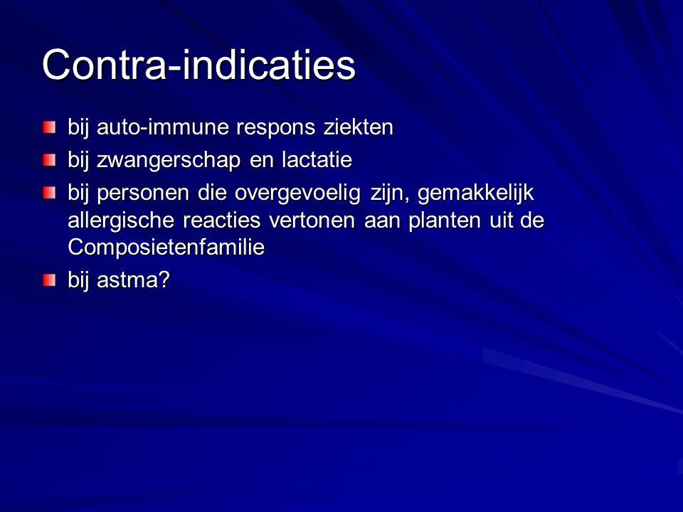 Contra-indicaties bij auto-immune respons ziekten bij zwangerschap en lactatie bij personen die overgevoelig zijn, gemakkelijk allergische reacties ve