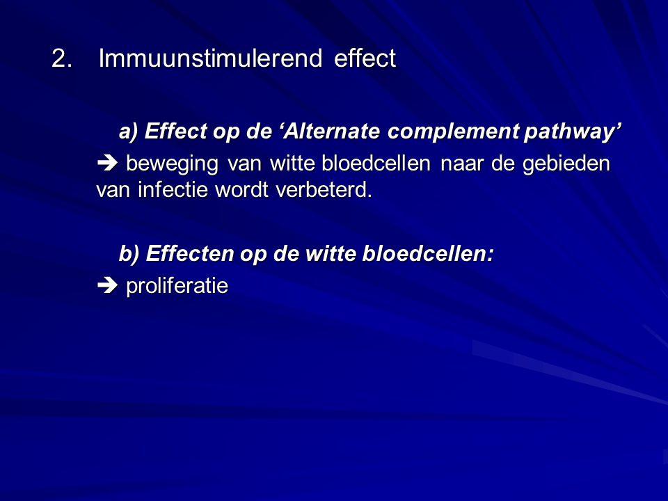 2. Immuunstimulerend effect a) Effect op de 'Alternate complement pathway'  beweging van witte bloedcellen naar de gebieden van infectie wordt verbet