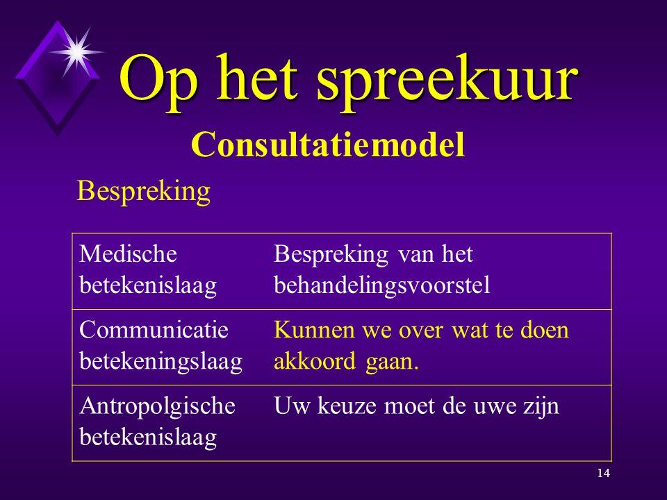 13 Op het spreekuur Consultatiemodel Beleid Medische betekenislaag Behandelingsvoorstel Communicatie betekeningslaag Kun je me daarin volgen.