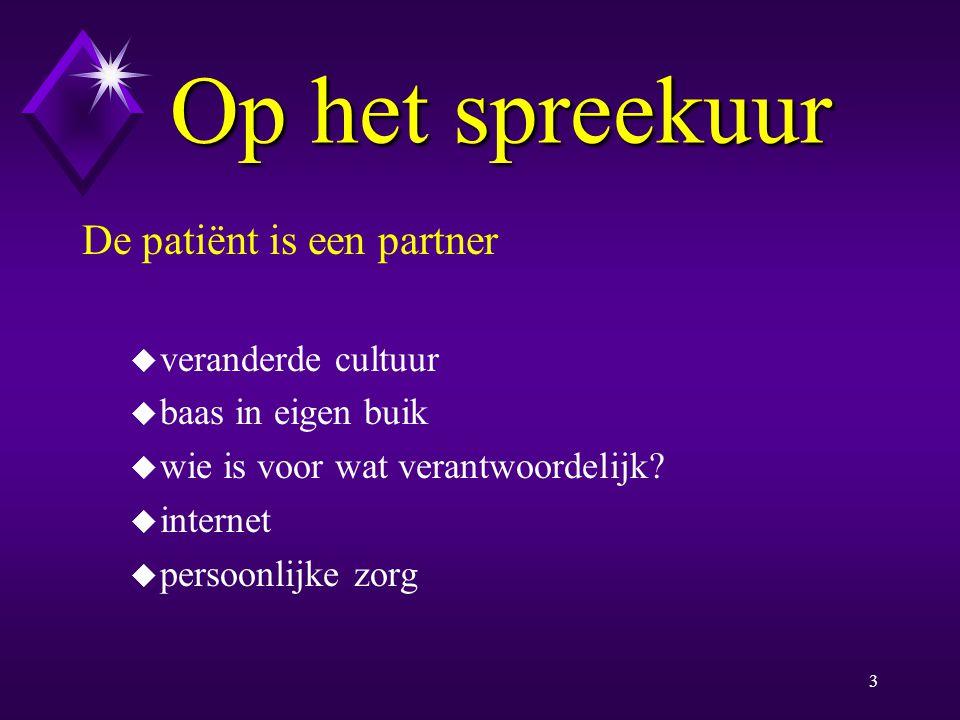 2 Op het spreekuur De patiënt is een partner Counseling Informed consent Consultatiemodel